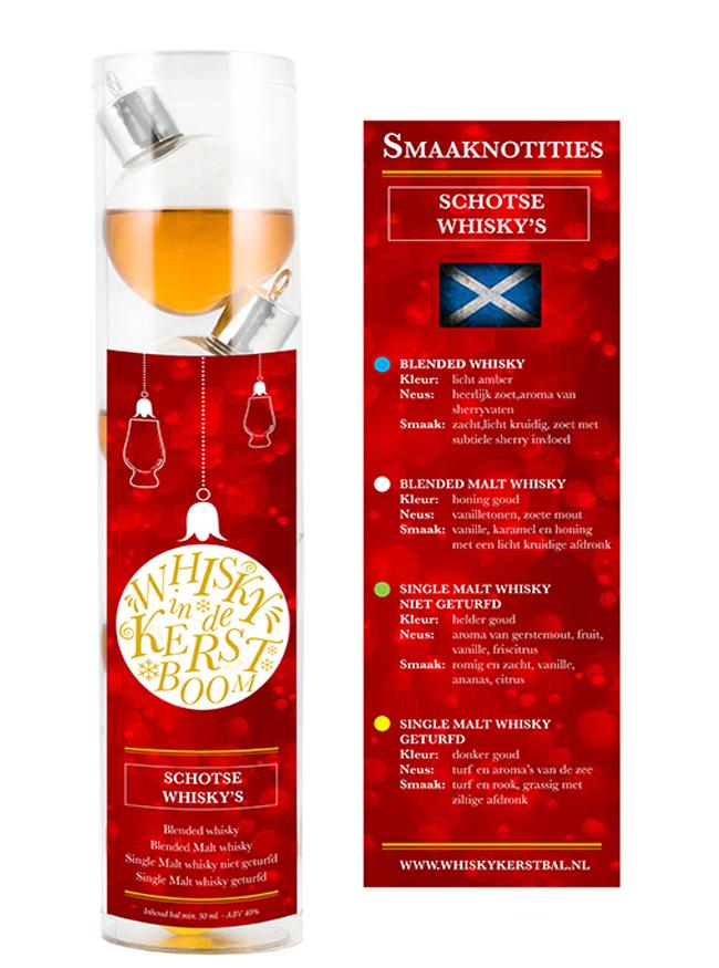 4 Stuks Schotse Single Malt Whisky Kerstballen